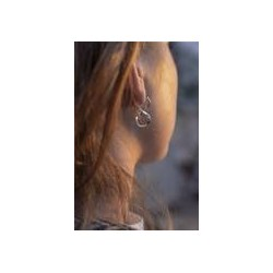 Boucles d'oreilles créoles or blanc en huit