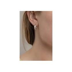Boucles d'oreilles créoles or blanc 18 carats ananas