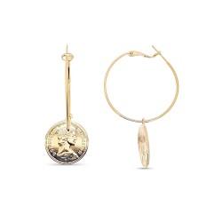 Boucles d'oreilles créole plaqué or médaille