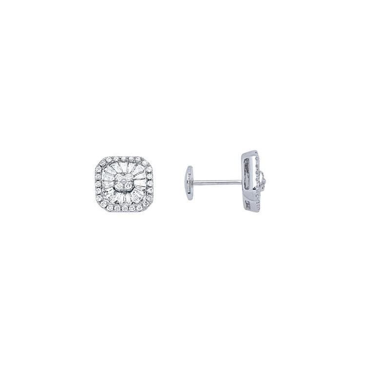 Boucles d'oreilles or gris et diamant