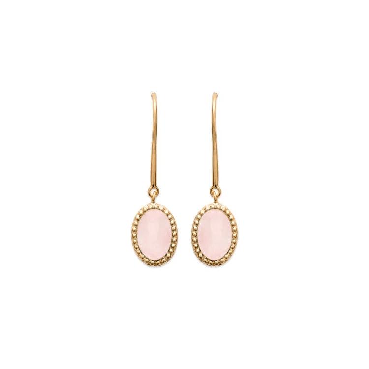 Boucles d'oreilles pendante plaqué or quartz rose