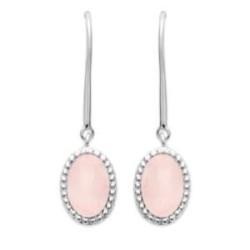 Boucles d'oreilles pendante argent quartz rose