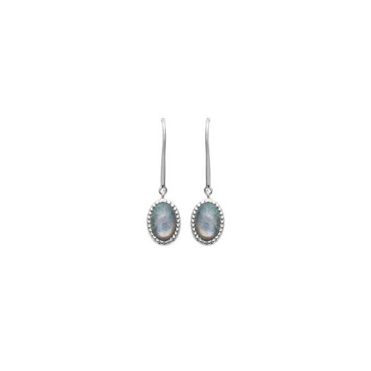 Boucles d'oreilles pendante argent Labradorite