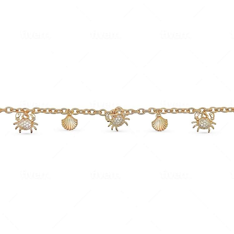 Bracelet femme plaqué or pendentifs