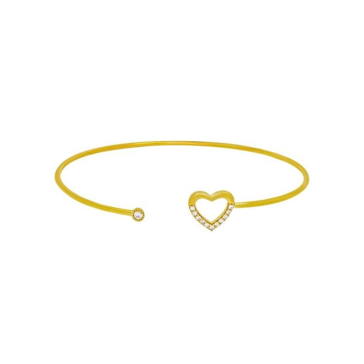 bracelet jonc cœur plaqué or