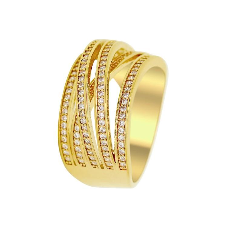 Bague plaqué or femme 5 anneaux oxydes de zirconium