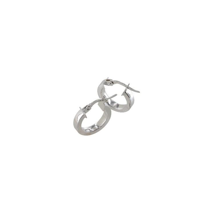 Boucles d'oreilles créoles or blanc 18 carats rectangle