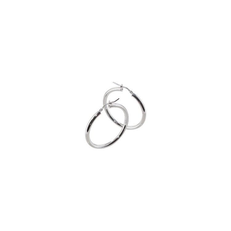 Boucle d'oreille Créole argent lisse tube 3mm