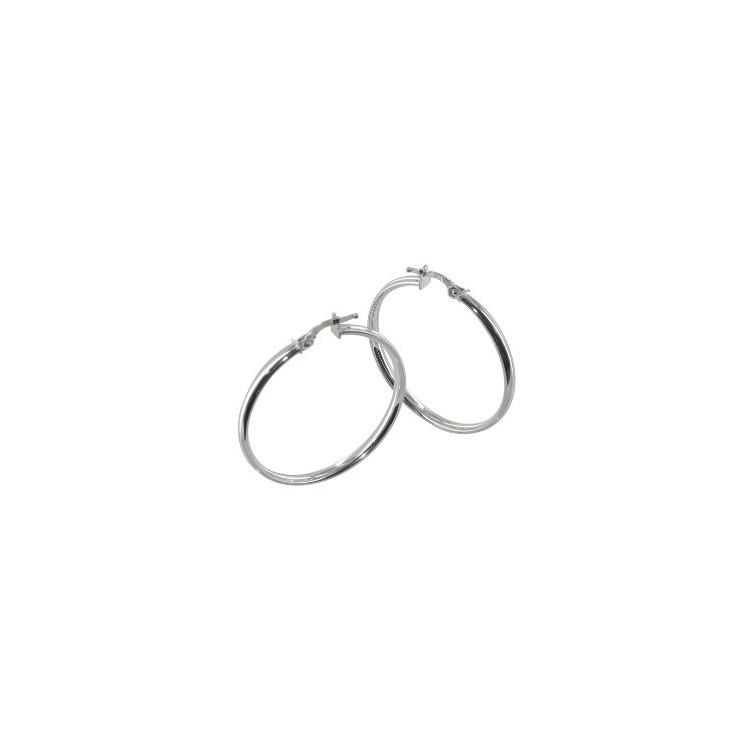 Boucles d'oreilles créoles or blanc plate lisse