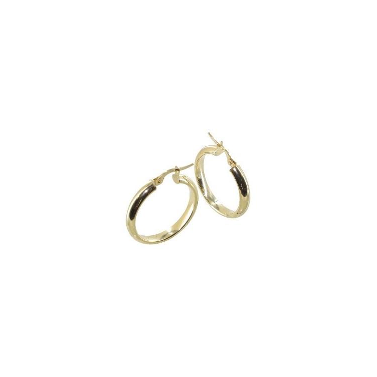 Boucles d'oreilles Créoles or demi jonc tube 4mm