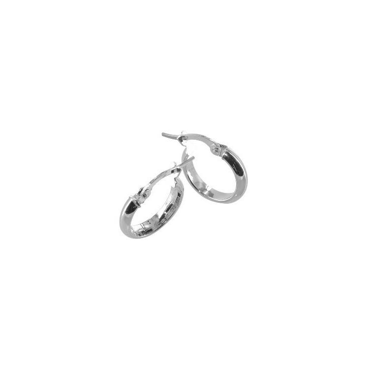 Boucles d'oreilles Créoles or blanc 18 carats demi jonc