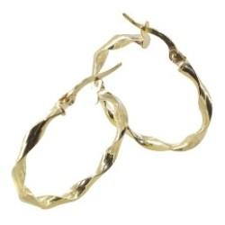 Boucles d'oreilles Créoles or 18 carats torsadée large