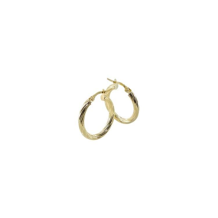 Boucles d'oreilles Créoles or 18 carats ovale torsadée