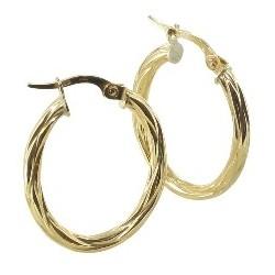 Boucles d'oreilles Créoles or 18 carats ovale finition ananas