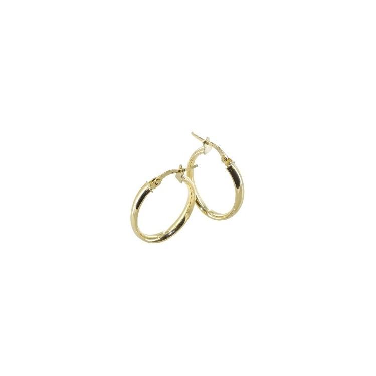 Boucles d'oreilles Créoles or 18 carats demi jonc ovale