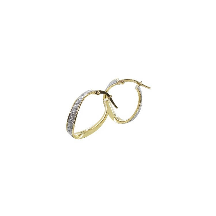 Boucles d'oreilles créoles or ondulée ovale glitter