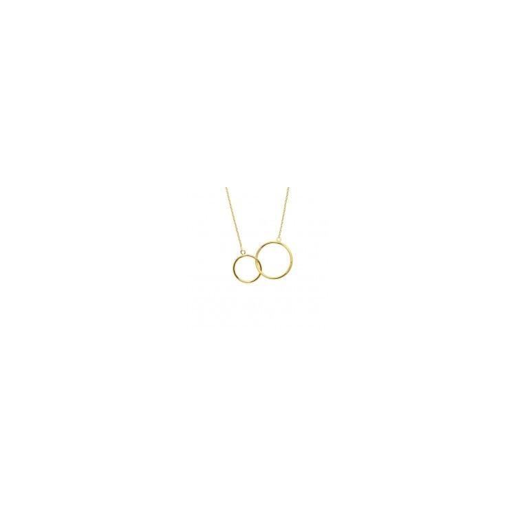 Collier plaqué or femme cercles