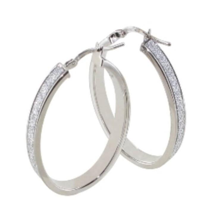 Boucles d'oreilles créoles argent rhodié ovale glitter