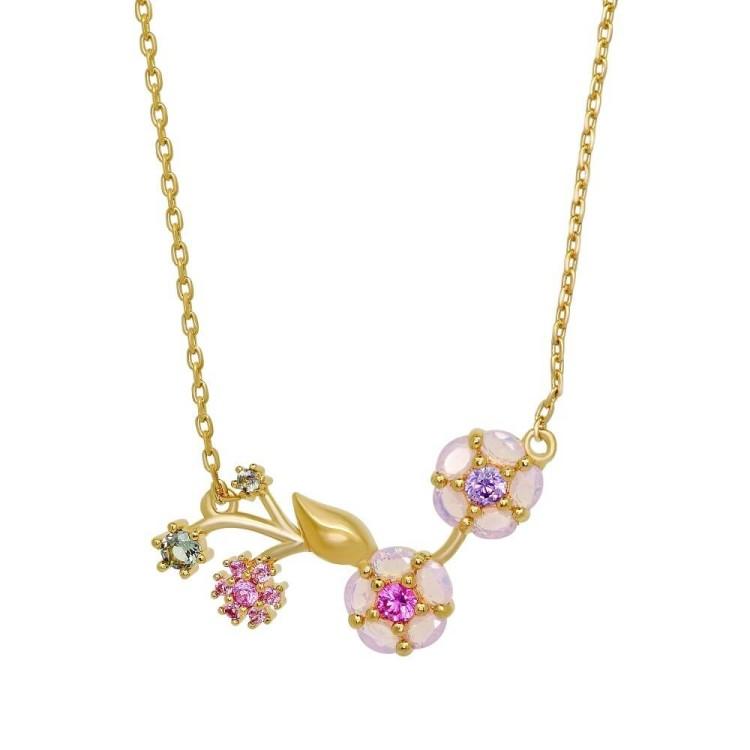 Collier plaqué or femme branche de fleurs