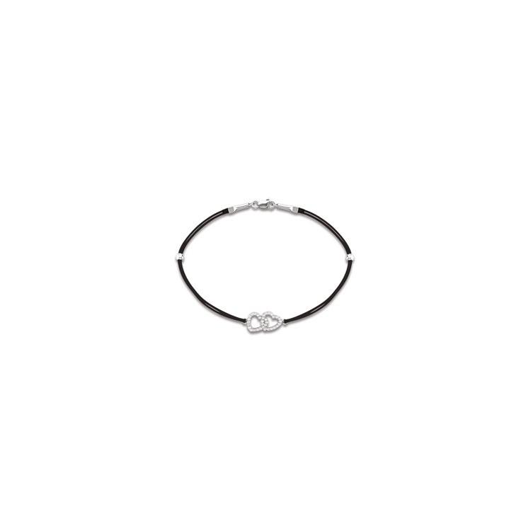 Bracelet cordon femme argent cœur