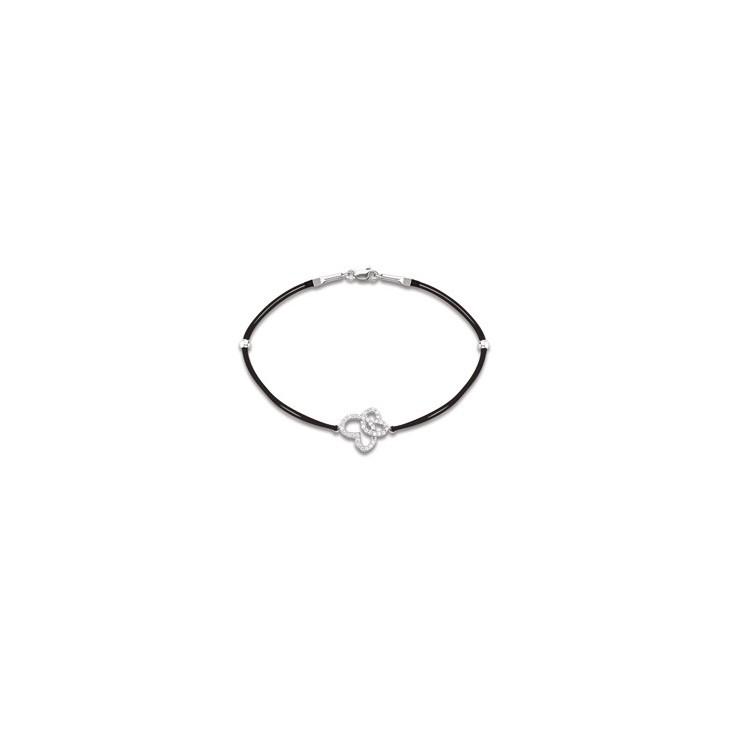 Bracelet cordon femme argent double cœur