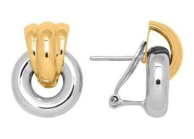 Boucles d'oreilles or blanc et jaune anneau