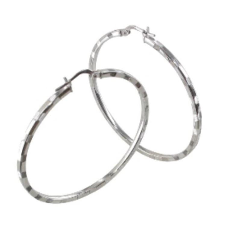 Boucles d'oreilles créoles argent 40mm rhodié striee