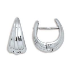 Boucles d'oreilles or blanc ovale