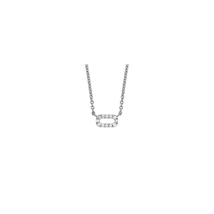 Collier or blanc diamant pendentif rectangle