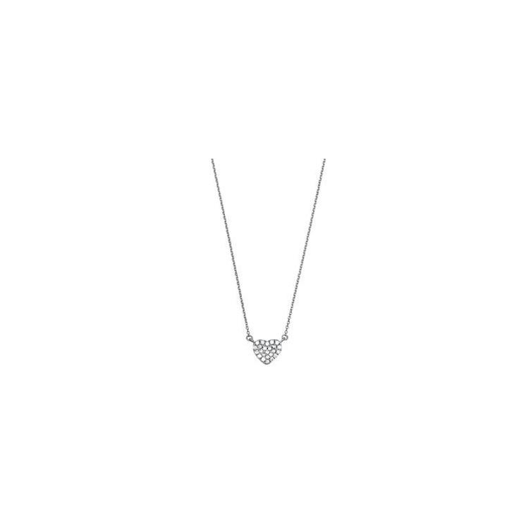 Collier or blanc pavé diamant cœur