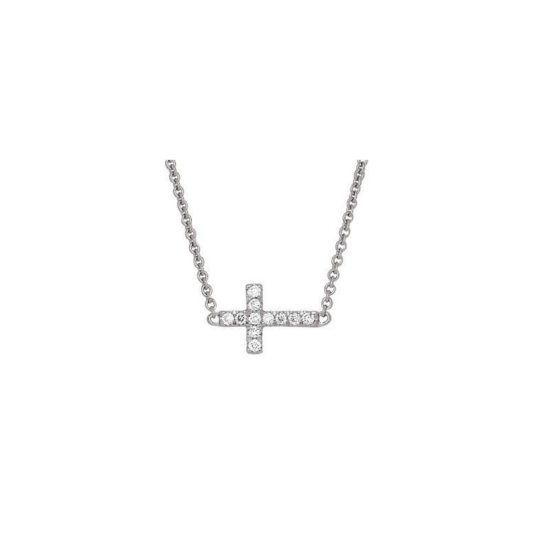 Collier or blanc diamant croix