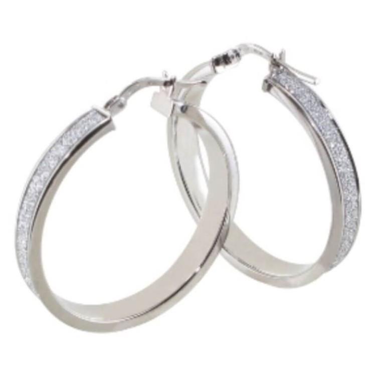 Boucles d'oreilles créoles argent 25mm rhodié glitter
