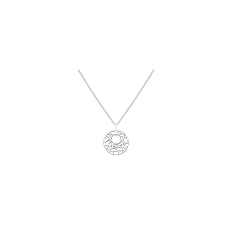 Collier argent cercle géométrique
