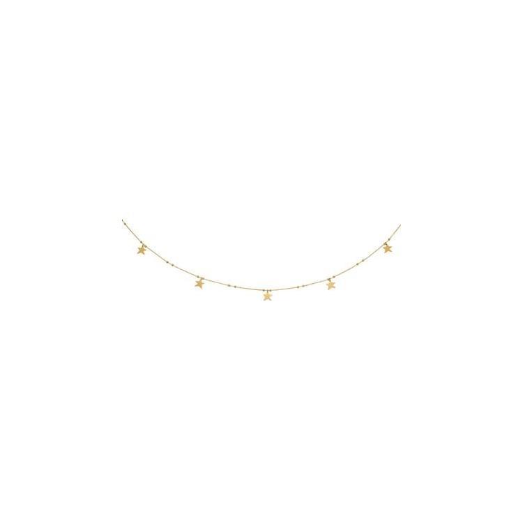 Ras de cou or jaune 18 carats  cinq étoiles  - 42cm
