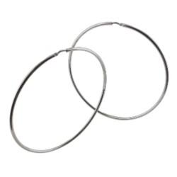 Boucles d'oreilles créoles argent 70mm rhodié lisse