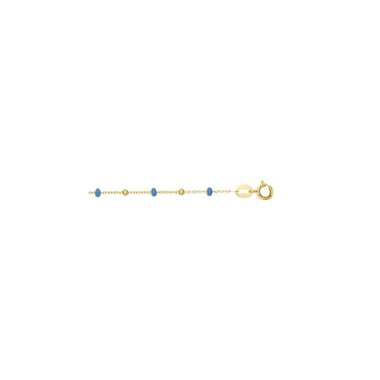 Bracelet or femme 18 carats boules bleu