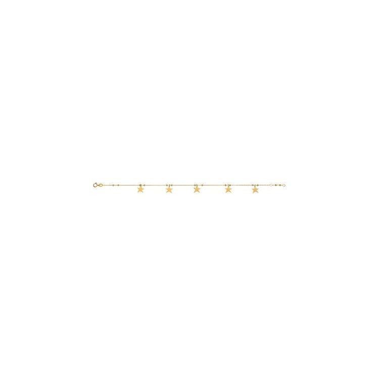 Bracelet femme or 18 carats étoiles
