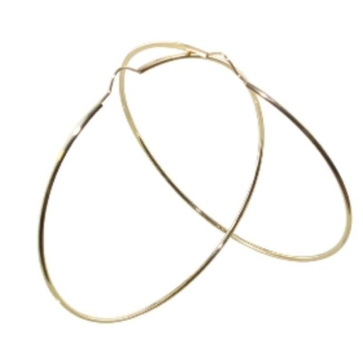 boucles d'oreilles créoles or 18 carats 60mm flexible