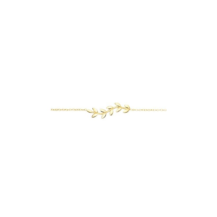Bracelet femme or 18 carats feuilles
