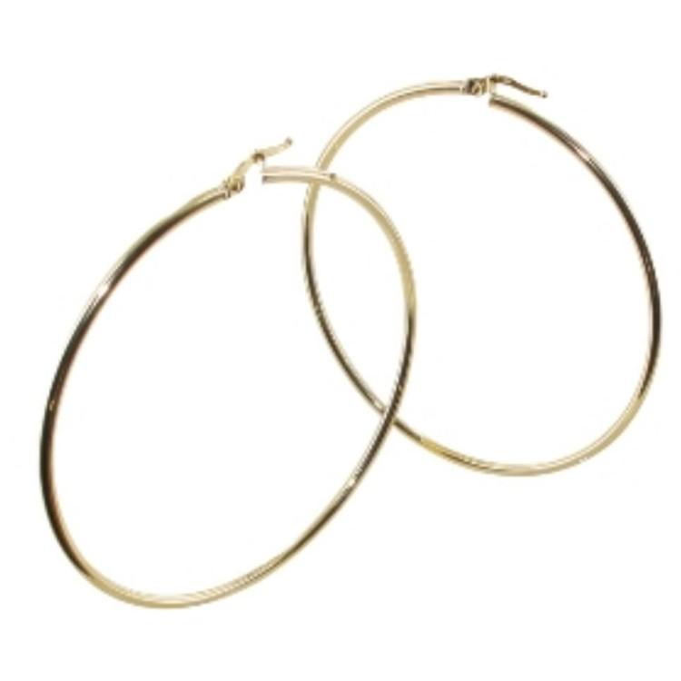 Boucles d'oreilles créoles or 18 carats 60mm lisse