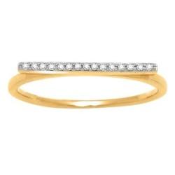 Bague solitaire ligne de diamants