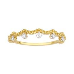 Bague solitaire diamant perlée