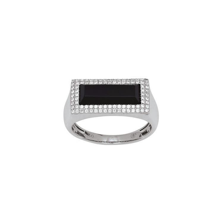 chevalière diamants et agathe noir
