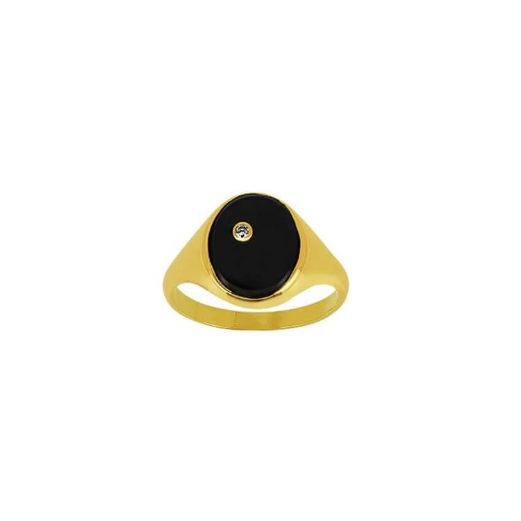 Chevalière diamants  avec Onyx