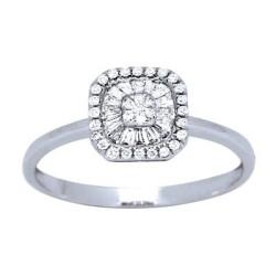 Bague solitaire or blanc diamants