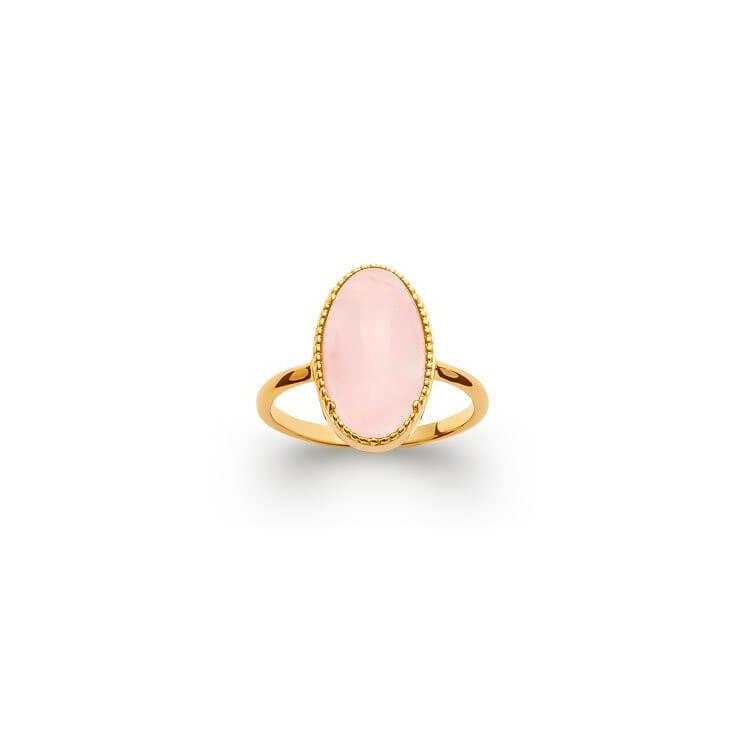Bague plaqué or pierre quartz rose