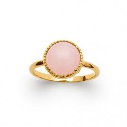 Bague pierre naturelle ronde quart rose