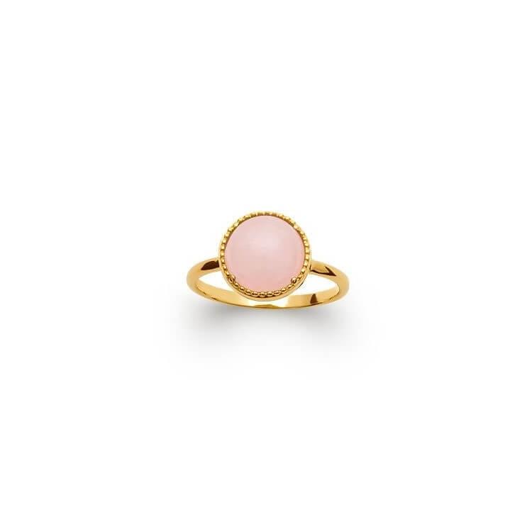 Bague pierre naturelle ronde quart rose