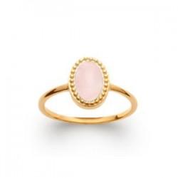 Bague pierre naturelle fine quart rose