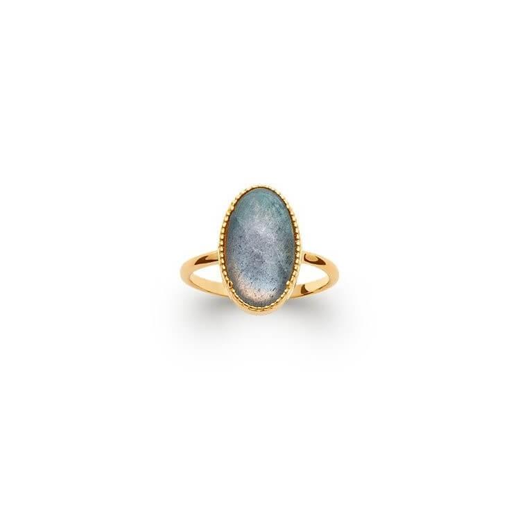 Bague pierre naturelle labradorite ovale